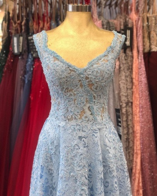 ZY236 Lighter Blue Evening Dresses Maternity Clothes Mascara Dresses With Lace_4