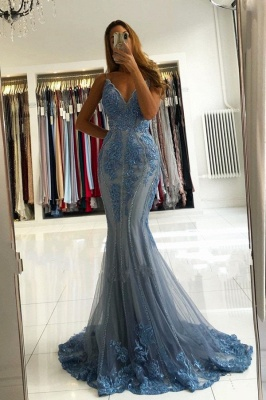 ZY282 Blue Evening Dresses Long Glitter Prom Dresses With Lace_1