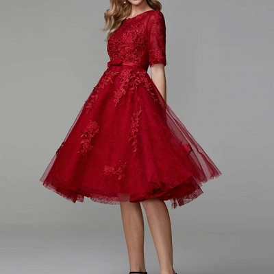 ZY270 Evening Dresses Short Red Lace Cocktail Dresses With Sleeves_2