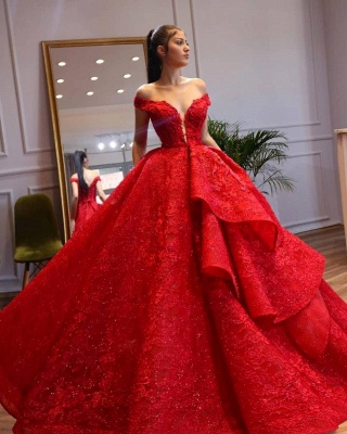 ZY299 Extravagant Evening Dresses Long Red Abenmoden Lace_2