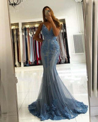 ZY282 Blue Evening Dresses Long Glitter Prom Dresses With Lace_2
