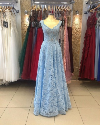 ZY236 Lighter Blue Evening Dresses Maternity Clothes Mascara Dresses With Lace_2