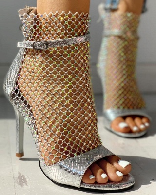 Sexy Studded Grid Mesh Open Toe Thin Heels_2