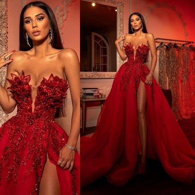 ZY256 Extravagant Evening Dresses Long Red Prom Dresses With Glitter_4