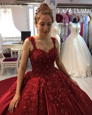 ZY300 Princess Evening Dresses Wine Red Prom Dresses With Lace_4