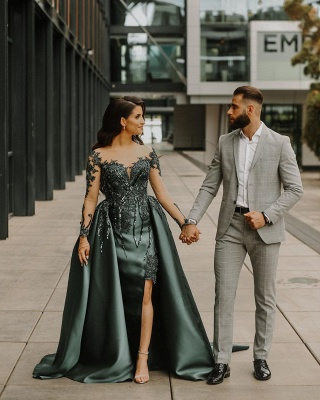 ZY296 Dark Green Evening Dresses Long Cheap Evening Wear With Lace Sleeves_2