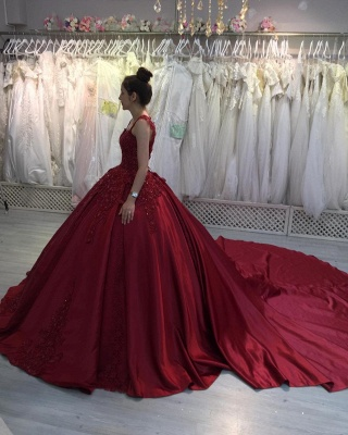 ZY300 Princess Evening Dresses Wine Red Prom Dresses With Lace_3