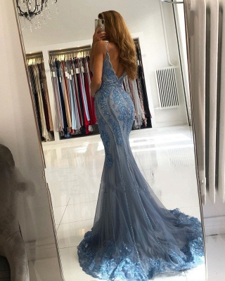 ZY282 Blue Evening Dresses Long Glitter Prom Dresses With Lace_3