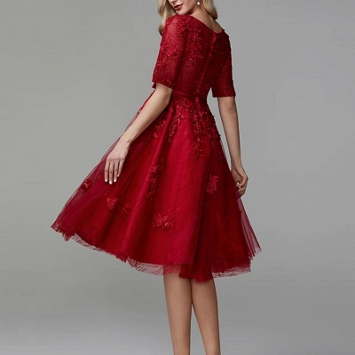 ZY270 Evening Dresses Short Red Lace Cocktail Dresses With Sleeves_3