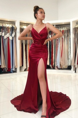 ZY298 Simple Evening Dress Wine Red Evening Wear Prom Dresses Online_1