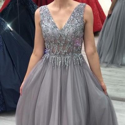 ZY280 Elegant Evening Dresses Long V Neck Prom Dresses Glitter_3