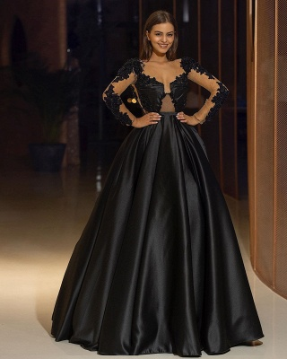 ZY325 Elegant Evening Dresses Long Black Evening Wear With Sleeves_2
