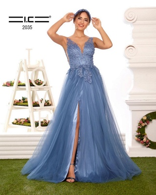 ZY328 Evening Dresses Long V Neckline Prom Dresses With Pointy Blue_2