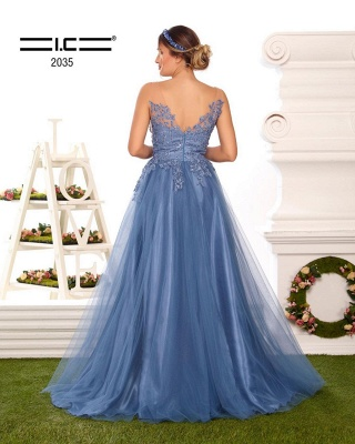 ZY328 Evening Dresses Long V Neckline Prom Dresses With Pointy Blue_3