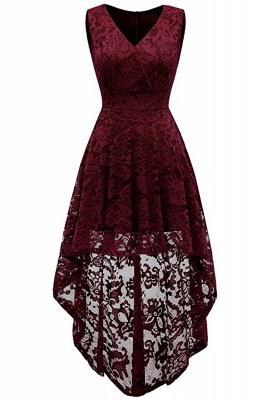 A| Chicloth Simple Cocktail Dresses Lace Short Front Long Back Dresses?_1