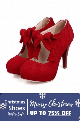 SD1261 Bow Tie Hollow Stiletto Heel Boots Women's Shoes_1