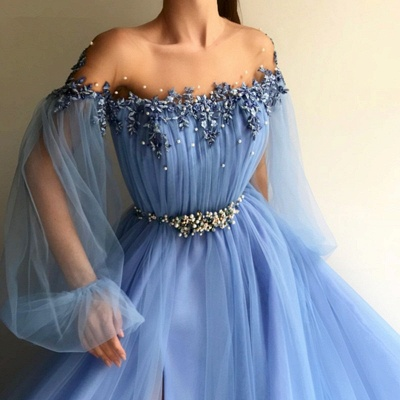 Chicloth A-Line Long Sleeves Off-The-Shoulder Tulle With Beading Floor-Length Dresses_4