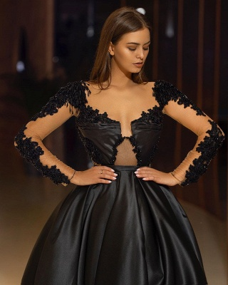 ZY325 Elegant Evening Dresses Long Black Evening Wear With Sleeves_3