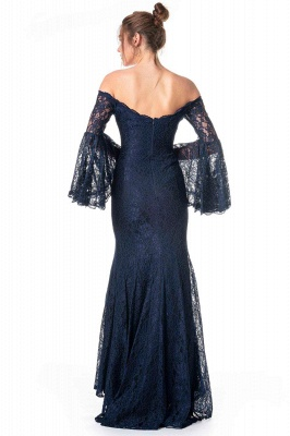 ZY354 Navy Blue Evening Dresses With Sleeves Lace Prom Dresses Long Cheap_2