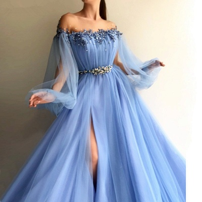 Chicloth A-Line Long Sleeves Off-The-Shoulder Tulle With Beading Floor-Length Dresses_2