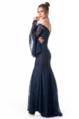 ZY354 Navy Blue Evening Dresses With Sleeves Lace Prom Dresses Long Cheap_3