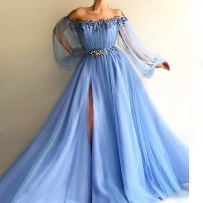 Chicloth A-Line Long Sleeves Off-The-Shoulder Tulle With Beading Floor-Length Dresses_3
