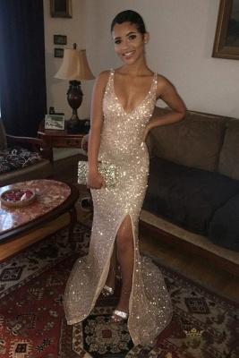 Shiny Mermaid Sequins V-Neck Straps Front Slipt Prom Dress_3