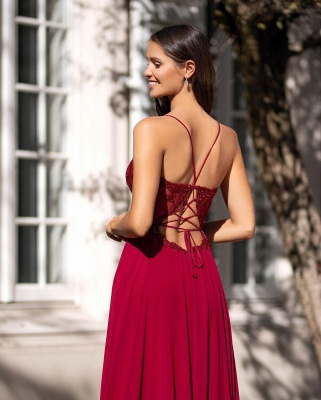 ZY357 Simple Evening Dresses With Lace Red Evening Wear Online_2