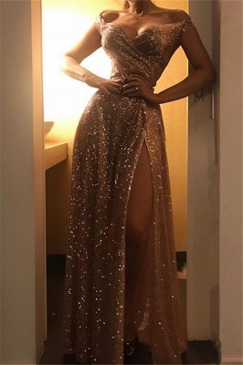 Off The Shoulder Sparkly Gold Sequins Prom Dresses With Side Slit
