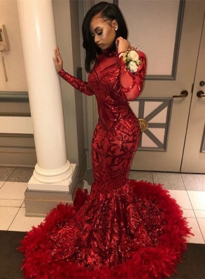 High Neck Red Mermaid Sequins Long Sleeves Prom Dress_4