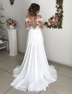 Simple Wedding Dresses Long Sleeve Bridal Gowns With Lace_3