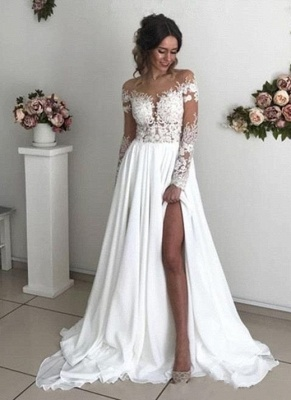Simple Wedding Dresses Long Sleeve Bridal Gowns With Lace