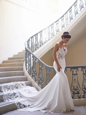 Cheap Spaghetti Traps Sleeveless Mermaid Lace Wedding Dresses