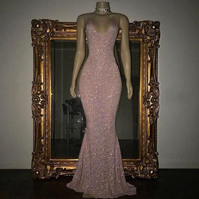 Stunning Spaghetti-strap Sequined Mermaid Long Sleeveless Prom Dress_2