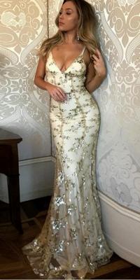 Spaghetti Staps Mermaid V-neck Floor length Crystal Beads Prom Dresses_10