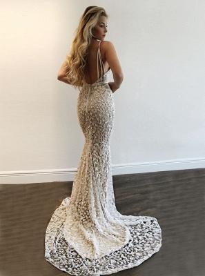Straps Lace Mermaid V-Neck Prom Dress BA9393_2
