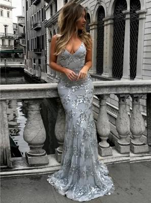 Spaghetti Staps Mermaid V-neck Floor length Crystal Beads Prom Dresses_4