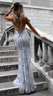 Spaghetti Staps Mermaid V-neck Floor length Crystal Beads Prom Dresses_6