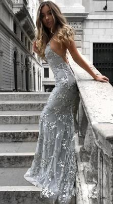 Spaghetti Staps Mermaid V-neck Floor length Crystal Beads Prom Dresses_7