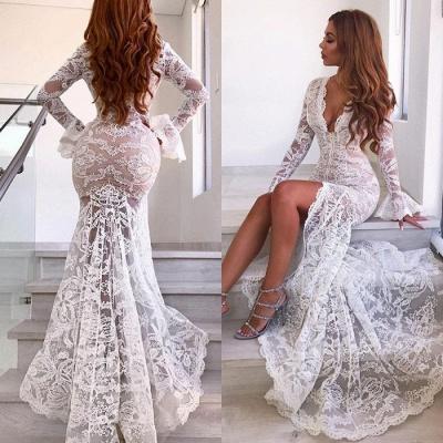 Lace Long Sleeve V-Neck Prom Dress With Slit BA9369_4