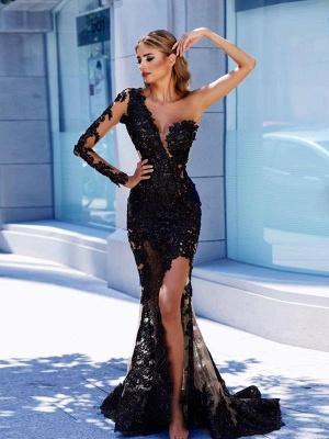 One-Shoulder Black Lace Front Split Prom Dress BA9571_1