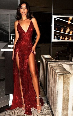 Sexy Sequined Spaghetti Strap Front Split Evening Dress_1