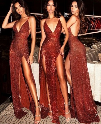Sexy Sequined Spaghetti Strap Front Split Evening Dress_3